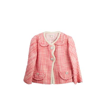 pink tweed retro jacket with shell buttons